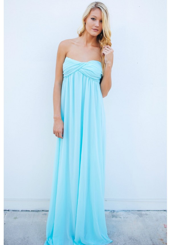 Sky blue strapless maxi dress with sweetheart neckline | Grecian ...