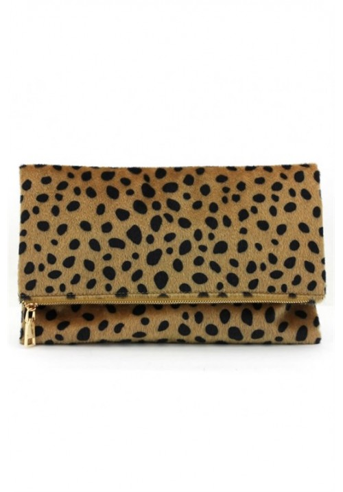 Leopard foldable clutch