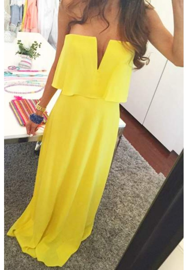Strapless yelow overlay maxi dress - Blakely - escloset.com