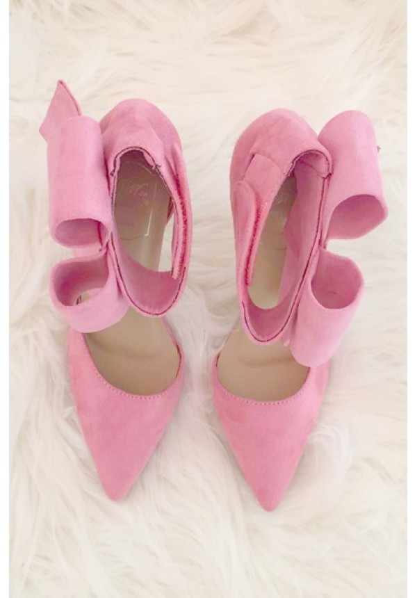 Pink bow high heels with above the ankle closure | Bradshaw Bow ...