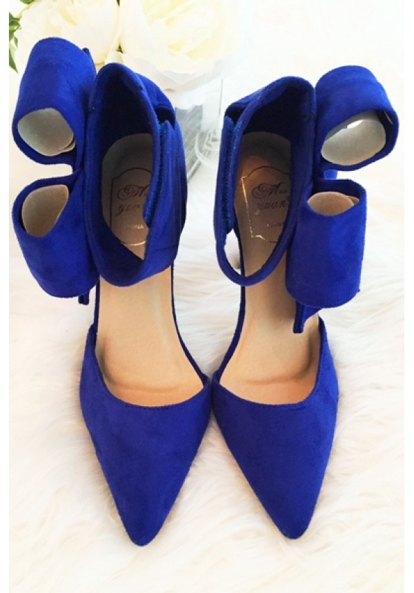 Blue bow high heels with above the ankle closure | Bradshaw Bow ...
