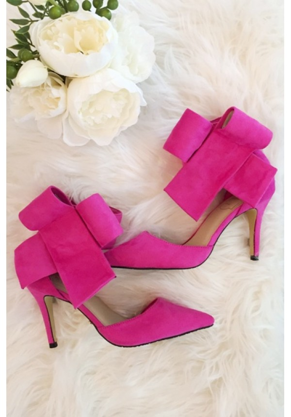 Hot pink bow high heels with above the ankle closure | Bradshaw ...