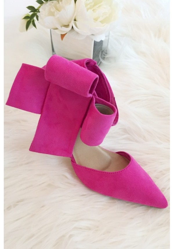 Hot pink bow high heels with above the ankle closure | Bradshaw