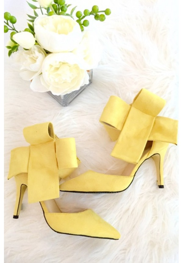 Yellow bow high heels with above the ankle closure | Bradshaw Bow ...