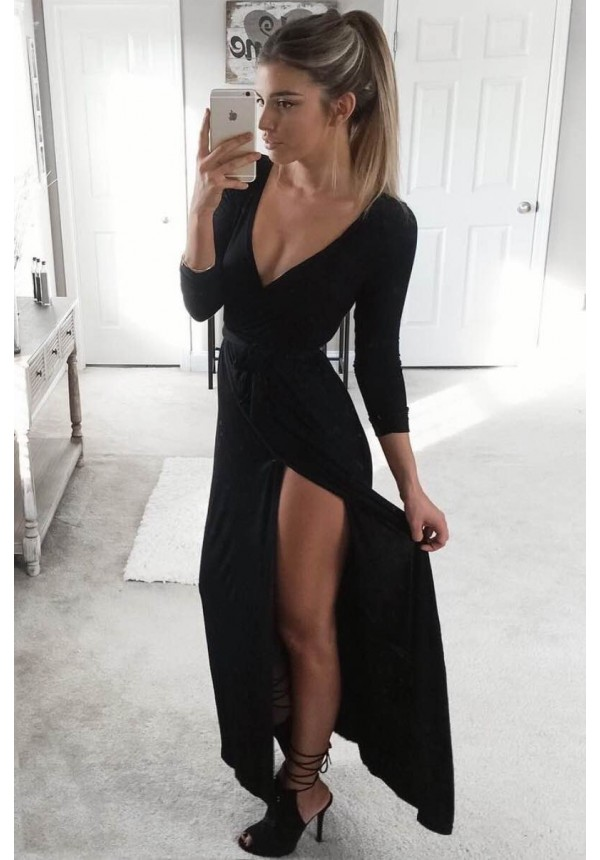 Black maxi dress with long sleeves and leg slit | Farrah ...
