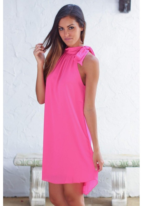 Elegant neon pink halter dress with neck bow detail | Cricket ...
