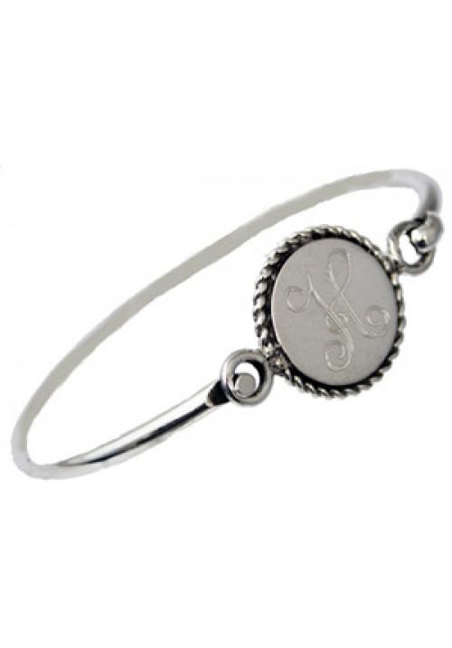 Sterling silver engraved monogram bangle bracelet